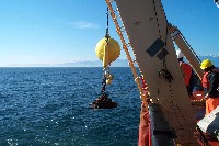 Deploying the release mooring for an ADCP in Juan de Fuca, 2000